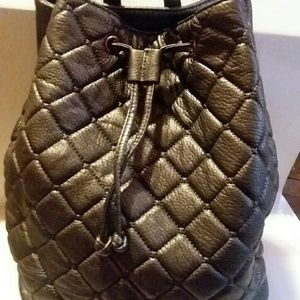 DEUX LUX GREY QUILTED BACK PACK HAND BAG